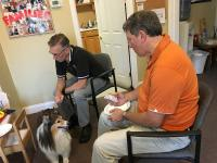 Gordon Gibson and Marty Roussel plus live dr training dog Westly at Dr. Steve D'Antonio's monthly live doctor training