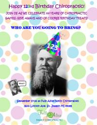 Celebrating Chiropractic's 123rd Flyer designed by CA Brook at Dr. Tara Scharich's office